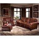Smith Brothers 393 Traditional Stationary Sofa with Nailhead Trim - Shown with Chair and Ottoman