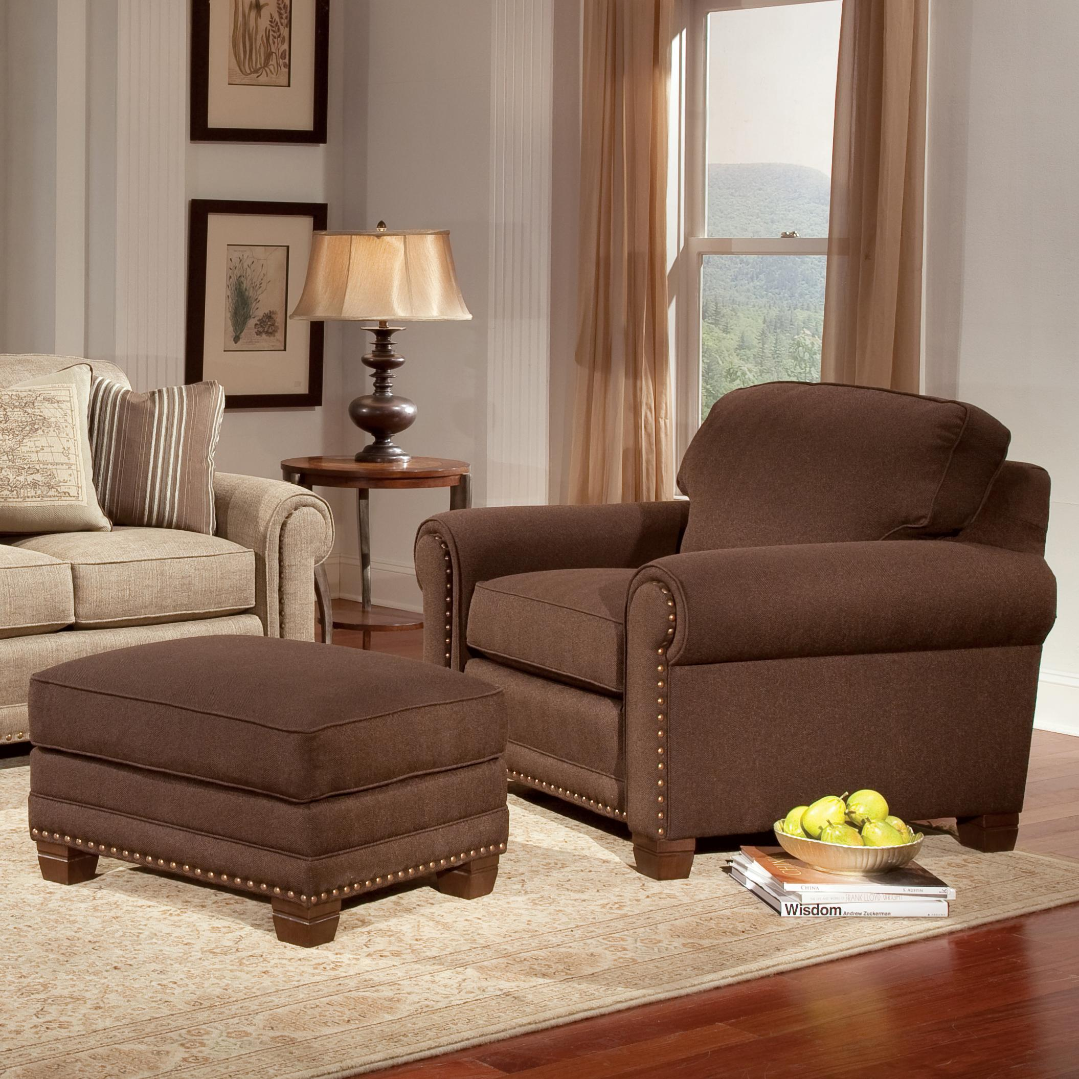 Traditional Chair and Ottoman