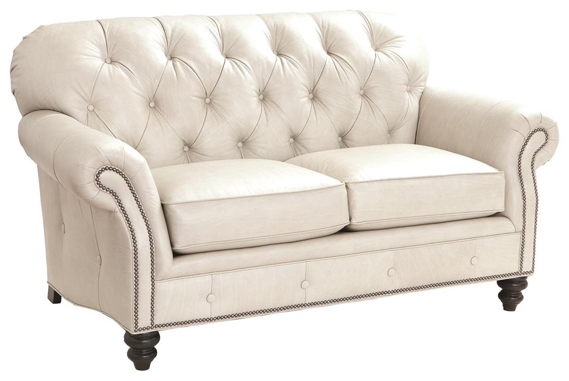 396 100% Leather Loveseat by Smith Brothers at Darvin Furniture