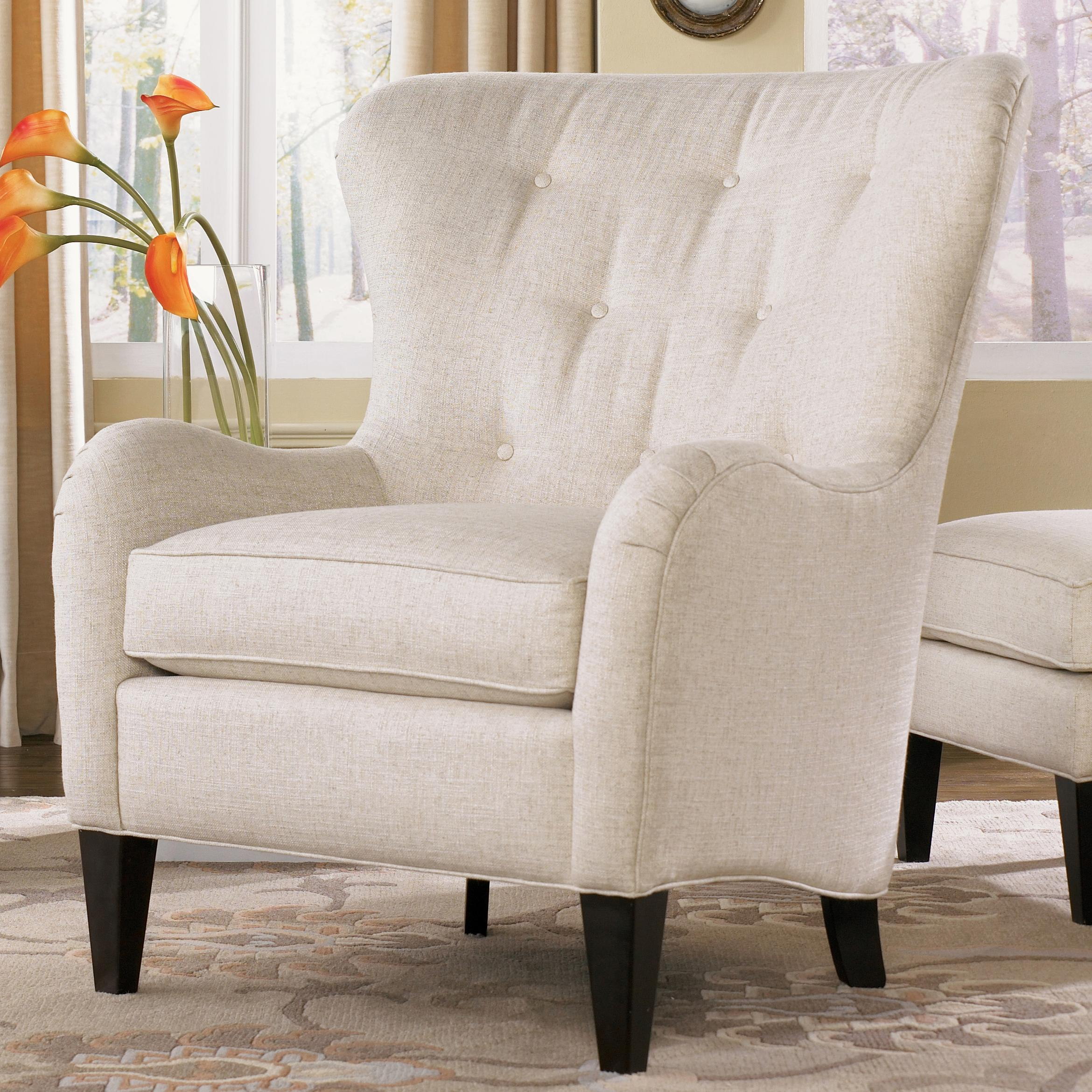 Smith Brothers 502 Style Group Wing Back Chair with Tufting and