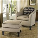 Smith Brothers 942 Contemporary Ottoman with Tapered Wood Legs - Shown with Chair