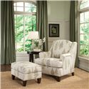 Smith Brothers 944 Upholstered Chair and Ottoman with Tapered Wood Block Legs