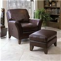 Smith Brothers 966 Tilt-Back Chair w/ Flared Arms - Shown with Ottoman