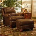 Smith Brothers 988 Upholstered Ottoman with Bun Feet - Shown with Tilt-Back Chair.