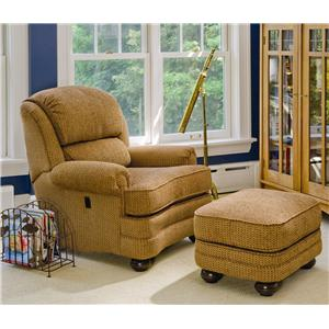 Smith Brothers 988 Upholstered Tilt Back Recliner & Ottoman