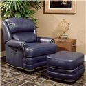 Smith Brothers 990 Leather Ottoman with Nailhead Trim - Shown with Leather Tilt-Back Chair