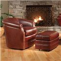 Peter Lorentz Accent Chairs and Ottomans SB Barrel Swivel Chair with Rolled Arms - Shown with Ottoman