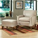 Smith Brothers Accent Chairs and Ottomans SB Contemporary Stationary Chair with Track Arms - Shown with Ottoman