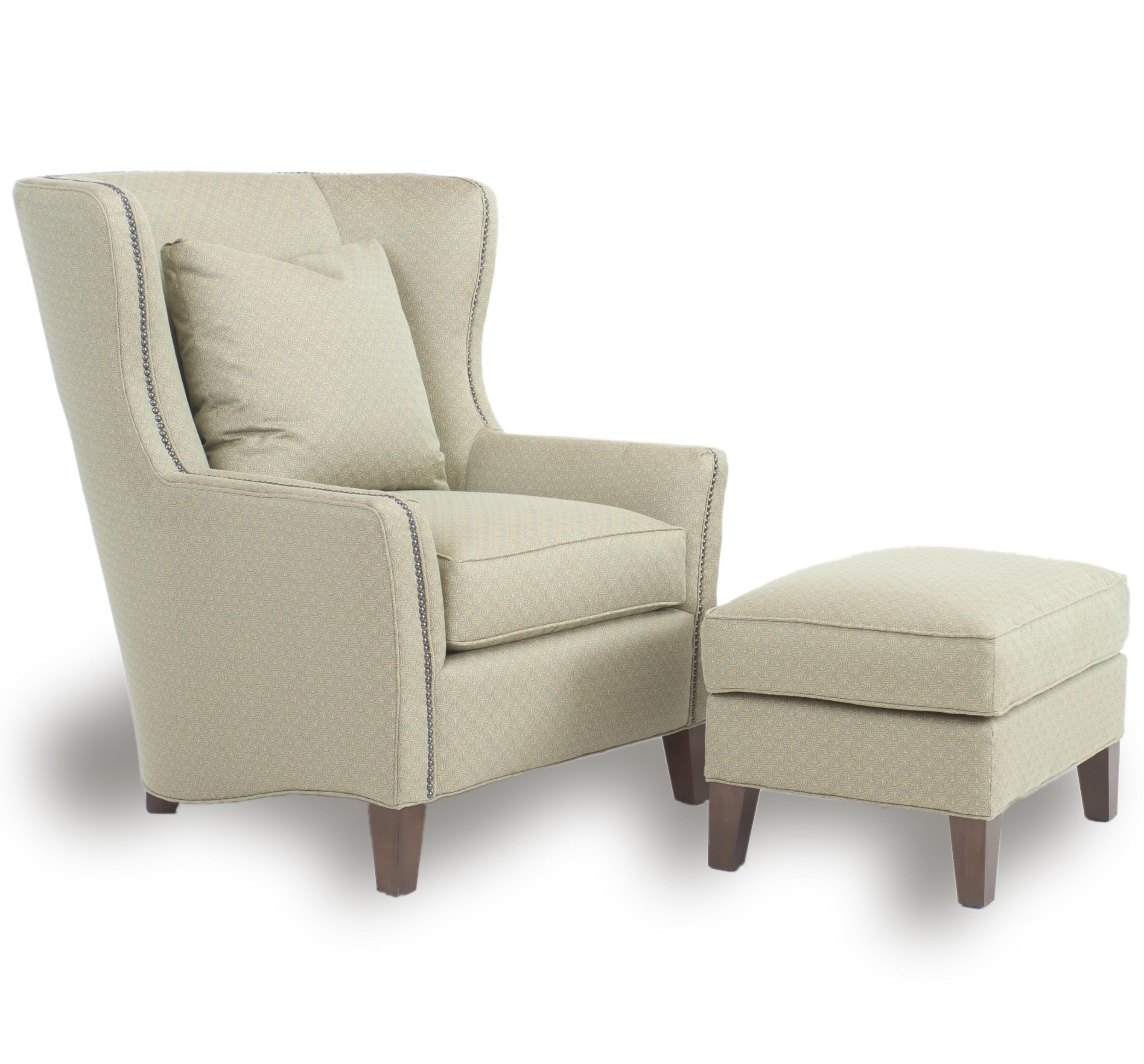 Accent Chairs and Ottomans SB Wingback Chair and Ottoman by Smith Brothers at Sprintz Furniture