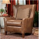 Smith Brothers Accent Chairs and Ottomans SB Wingback Chair and Ottoman - Leather Wingback Chair
