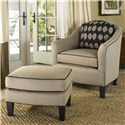 Smith Brothers Accent Chairs and Ottomans SB Upholstered Ottoman with Welt - Shown in Room Setting