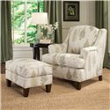 Smith Brothers Accent Chairs and Ottomans SB Upholstered Ottoman with Tapered Legs - Shown in Room Setting