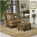 Peter Lorentz Accent Chairs and Ottomans SB Upholstered Arm Chair with Nailhead Trim - Shown in Room Setting with Ottoman