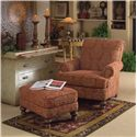 Smith Brothers Accent Chairs and Ottomans SB Rectangular Ottoman with Turned Feet - Shown in Room Setting with Upholstered Arm Chair