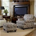 Smith Brothers Build Your Own (5000 Series) Upholstered Ottoman with Turned Leg - Shown with Matching Chair.