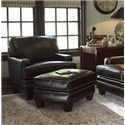 Smith Brothers Build Your Own (5000 Series) Upholstered Ottoman with Tapered Leg - Shown with Matching Chair.