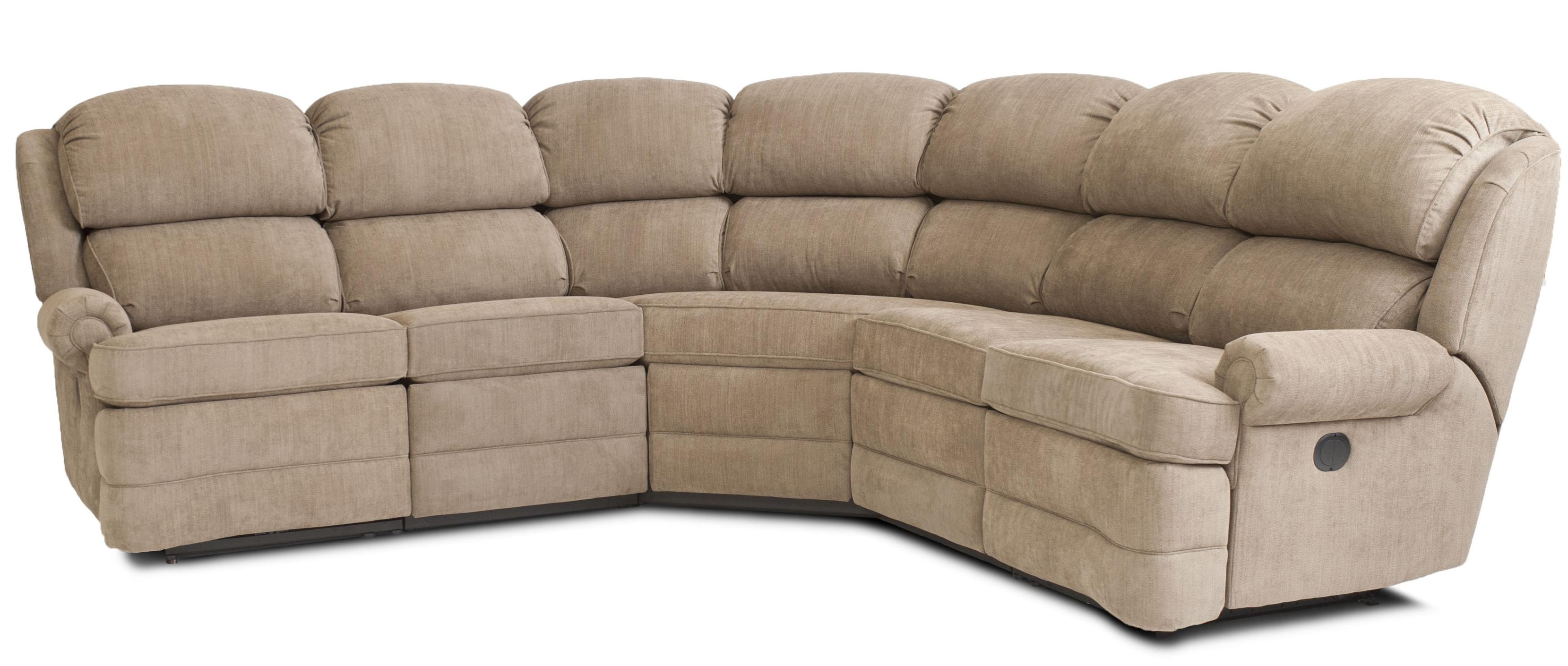 transitional 5 reclining sectional sofa with small rolled arms