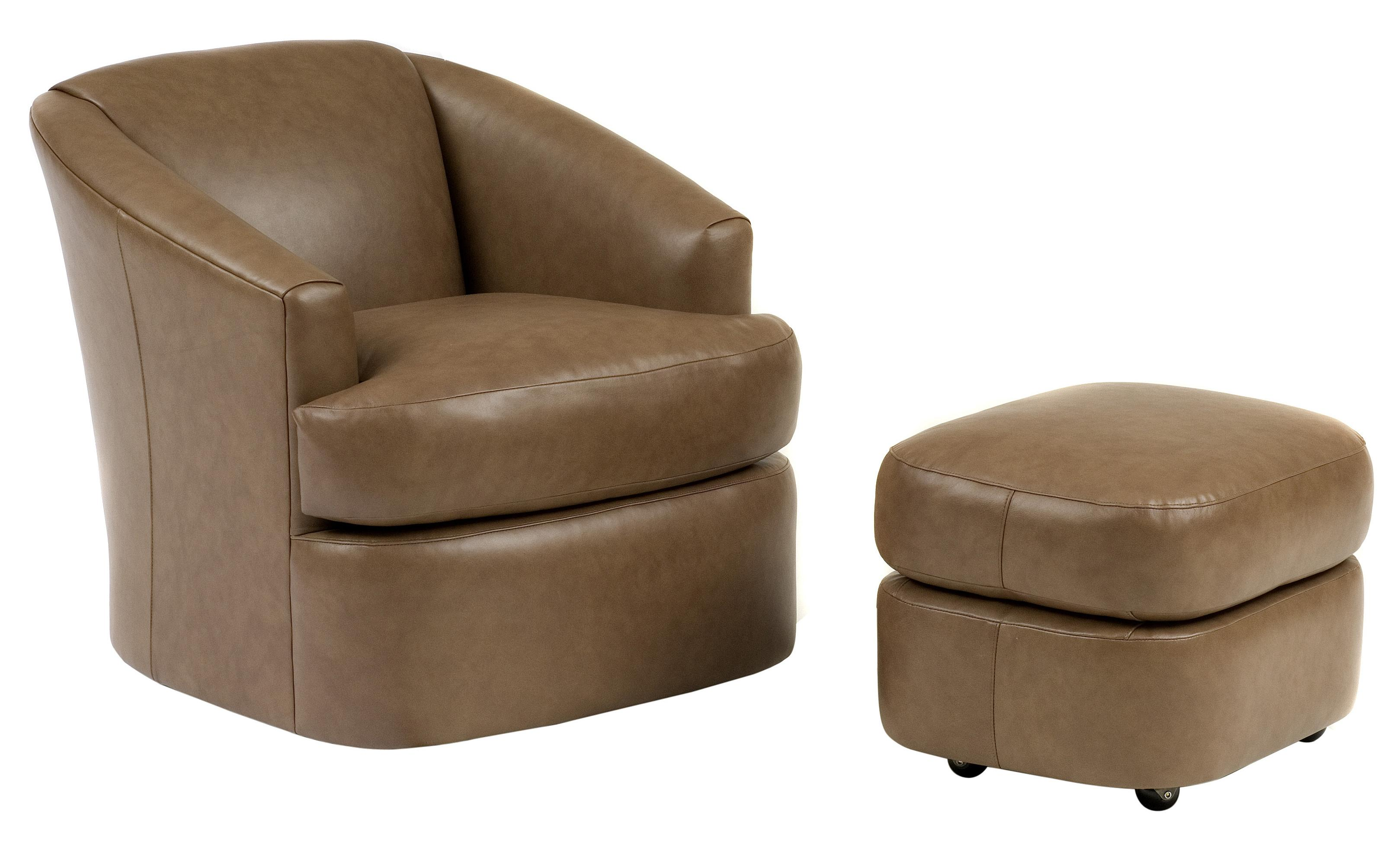Smith Brothers Contemporary Barrel Chair and Ottoman with ...