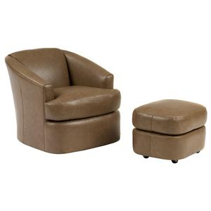 Peter Lorentz Smith Brothers Contemporary Swivel Chair and Ottoman