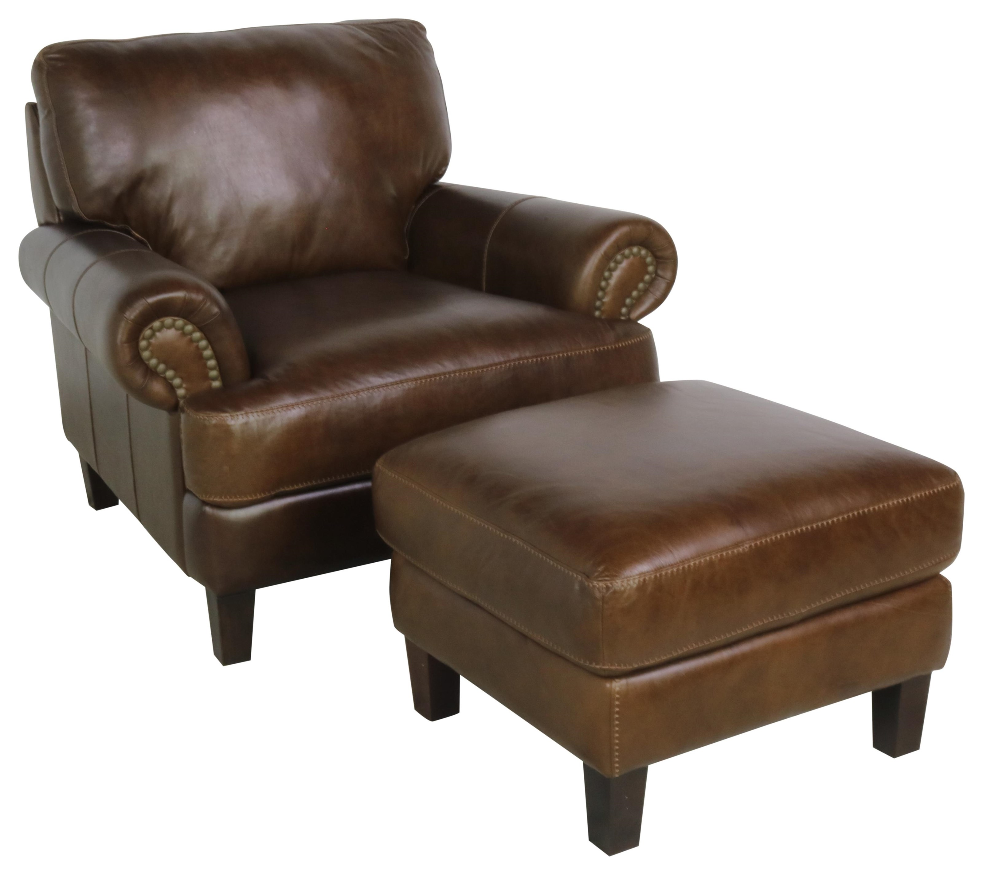 7386 Italian Leather Chair & Ottoman by Giovanni Leather at Sprintz Furniture