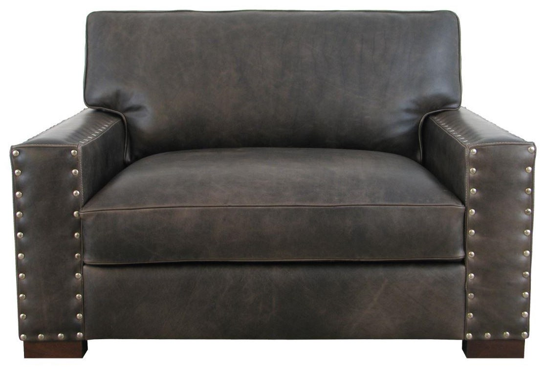 7594  Italian Leather Chair and Ottoman by Giovanni Leather at Sprintz Furniture