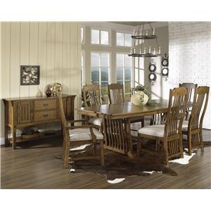 Morris Home Furnishings Craftsman 7 Pc. Trestle Table Set