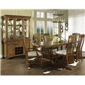 Morris Home Furnishings Craftsman Rectangular Trestle Dining Table - Shown with China, Side & Arm Chairs