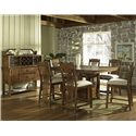 Morris Home Furnishings Craftsman Bar Table with Storage Base - Shown with Bar Stools & Server with Hutch