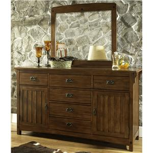Morris Home Furnishings Craftsman Dresser & Mirror Combo
