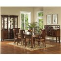 Morris Home Furnishings Rhythm  7 Piece Rectangular Leg Table & Chair Set - Shown with China & Server