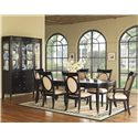 Morris Home Furnishings Signature Upholstered Side Chair - Shown with Dining Table & China Cabinet