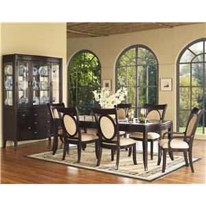 Morris Home Furnishings Signature 7 Piece Glass Top Table & Chair Set