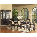 Morris Home Furnishings Signature Glass Top Leg Dining Table - Shown with Upholstered Chairs & China