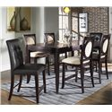 Morris Home Furnishings Signature Bicast Leather Bar Stool - Shown with Bar Table & Upholstered Bar Stools