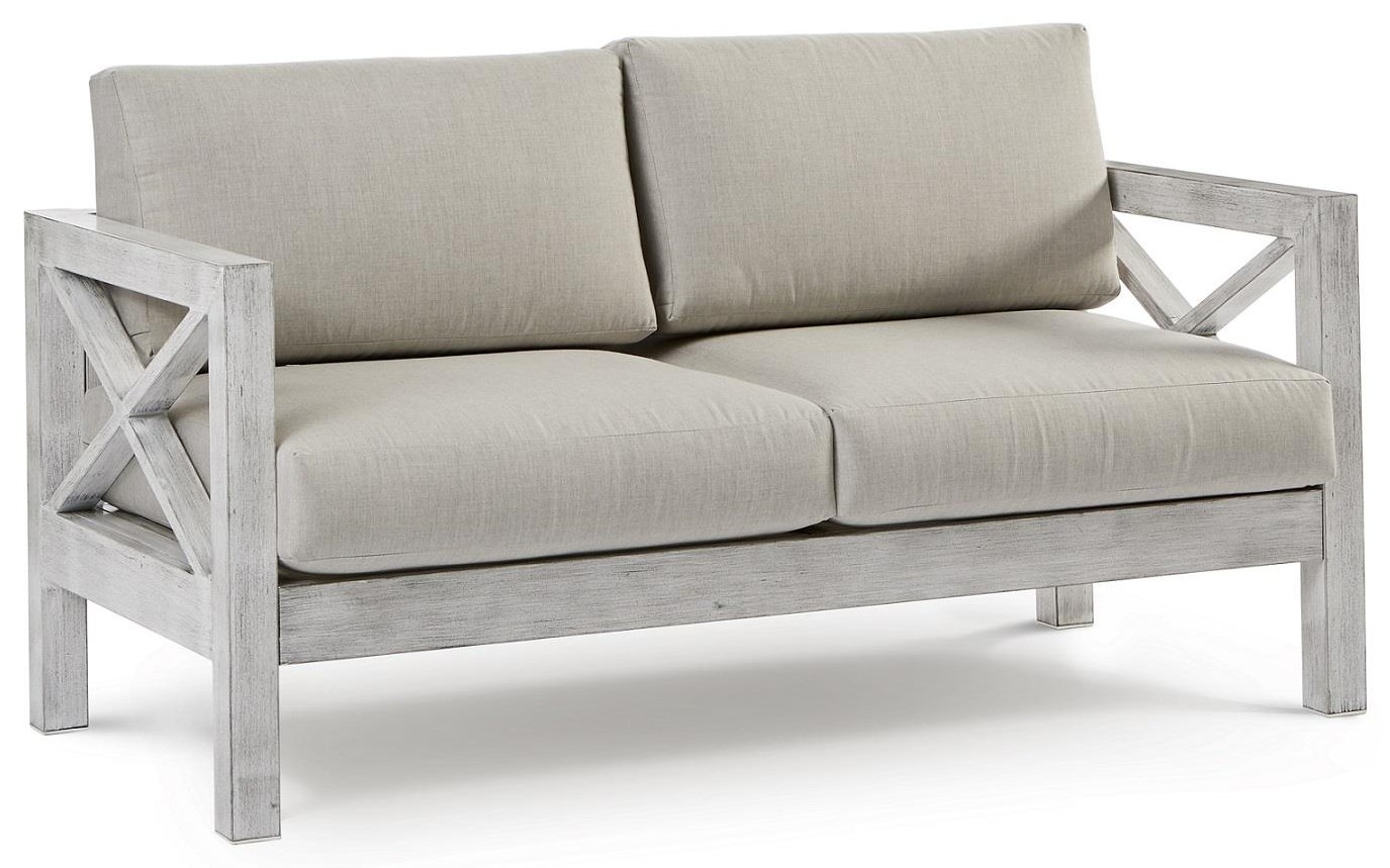 Farlowe Loveseat with Luxterior Cushions by South Sea Rattan & Wicker at Johnny Janosik