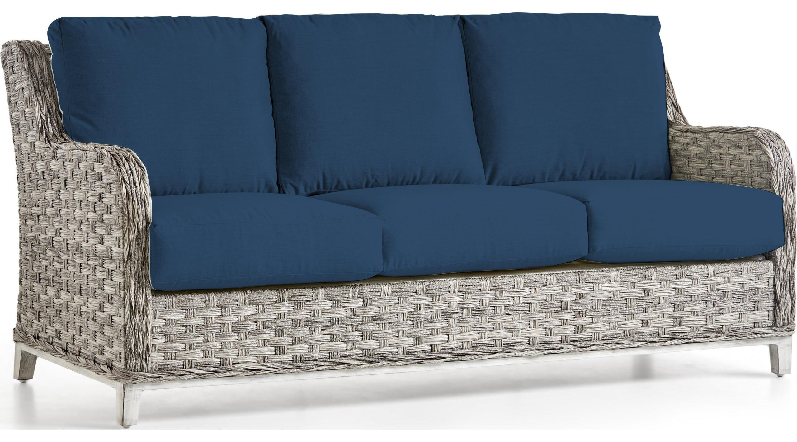 Grande Isle Sofa with Luxterior Cushions by South Sea Rattan & Wicker at Johnny Janosik