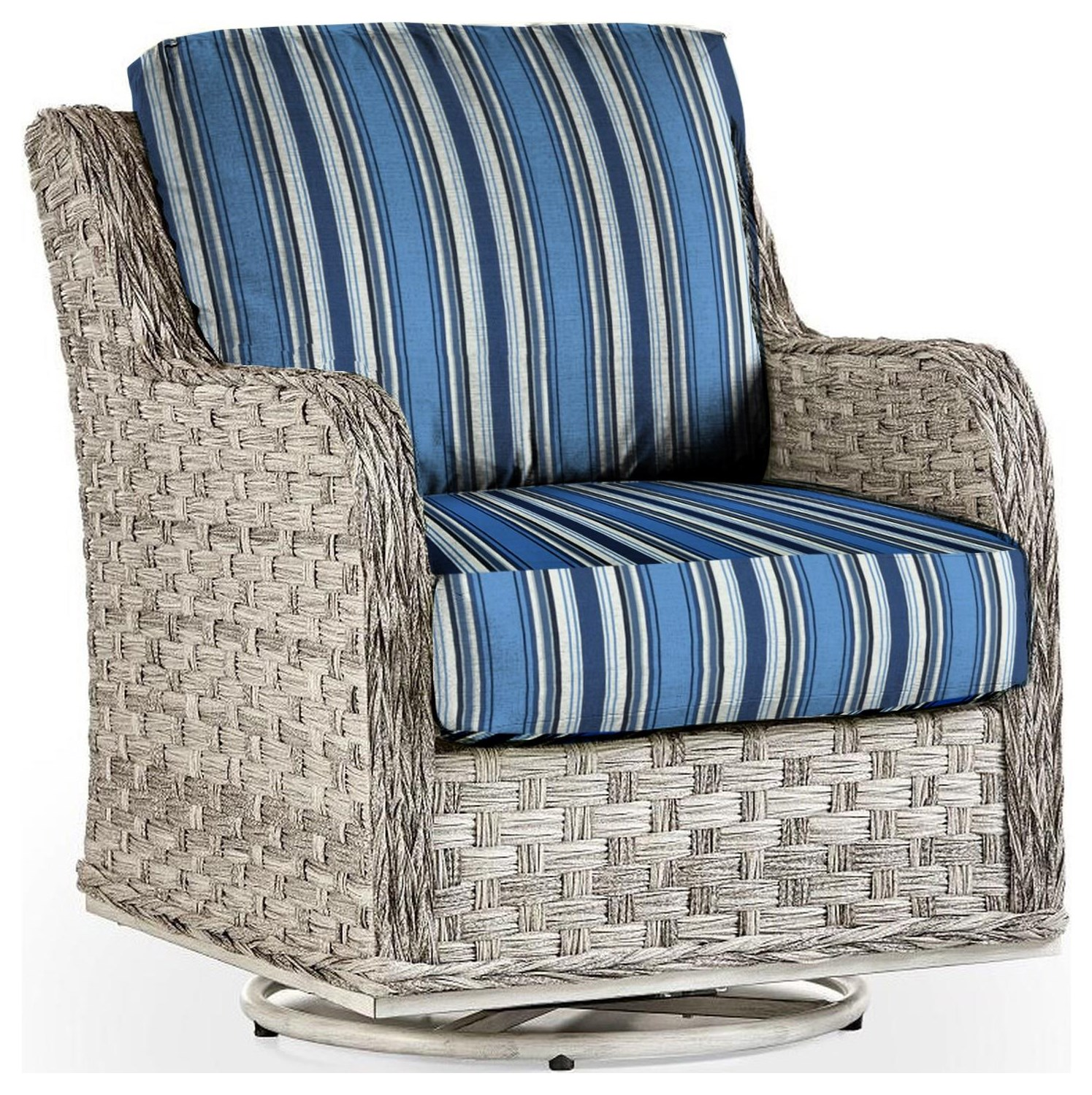 Grande Isle Swivel Glider w/Luxterior Cushions by South Sea Rattan & Wicker at Johnny Janosik
