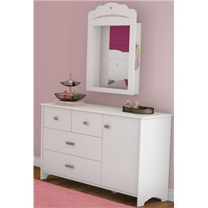 Tiara 3 Drawer Dresser and Storage Mirror Combo by South Shore