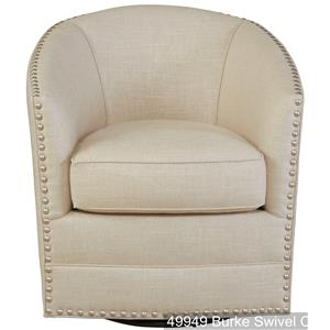 Burke Swivel Upholstered Chair with Nailhead Trim by Southern