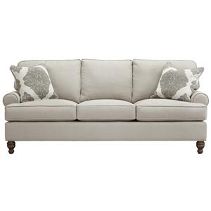 Elena Stationary Sofa with Rolled Arms and Turned Legs by Southern