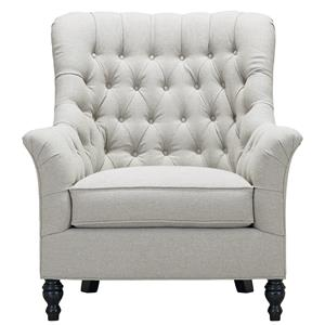 Janie Upholstered Chair with Exposed Wooden Legs and Tufted Back by Southern