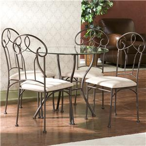 Southern Enterprises Cassidy  Metal Table w/ Glass Top and Side Chairs