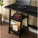 Southern Enterprises Desks and Chairs Langston Single Pedestal A-frame Desk - Storage Shelves