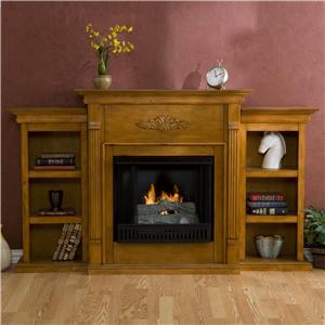 Southern Enterprises Fireplaces  Tennyson Plantation Oak Gel Fuel Fireplace w/Bookcases & Tealight Log