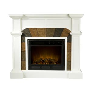 Southern Enterprises Fireplaces  Cartwright Ivory Convertible Slate Electric Fireplace
