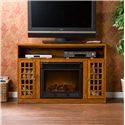 Southern Enterprises Fireplaces  Narita Glazed Pine Media Console w/ Electric Fireplace