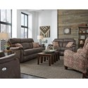 Southern Motion Blue Ribbon Double Reclining Sofa with Pillows and Power Headrests - Actual Recline Handle May Differ From What is Shown