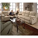 Southern Motion Cagney Double Reclining Loveseat with Pillow Arms - Shown Stand Alone with Double Reclining Sofa. Loveseat Shown May Not Represent Exact Features Indicated.