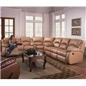Southern Motion Cagney Powerized Double Reclining Sofa with Pillow Arms  - Shown as Sectional Component in Leather Upholstery. Sofa Shown May Not Represent Exact Features Indicated.