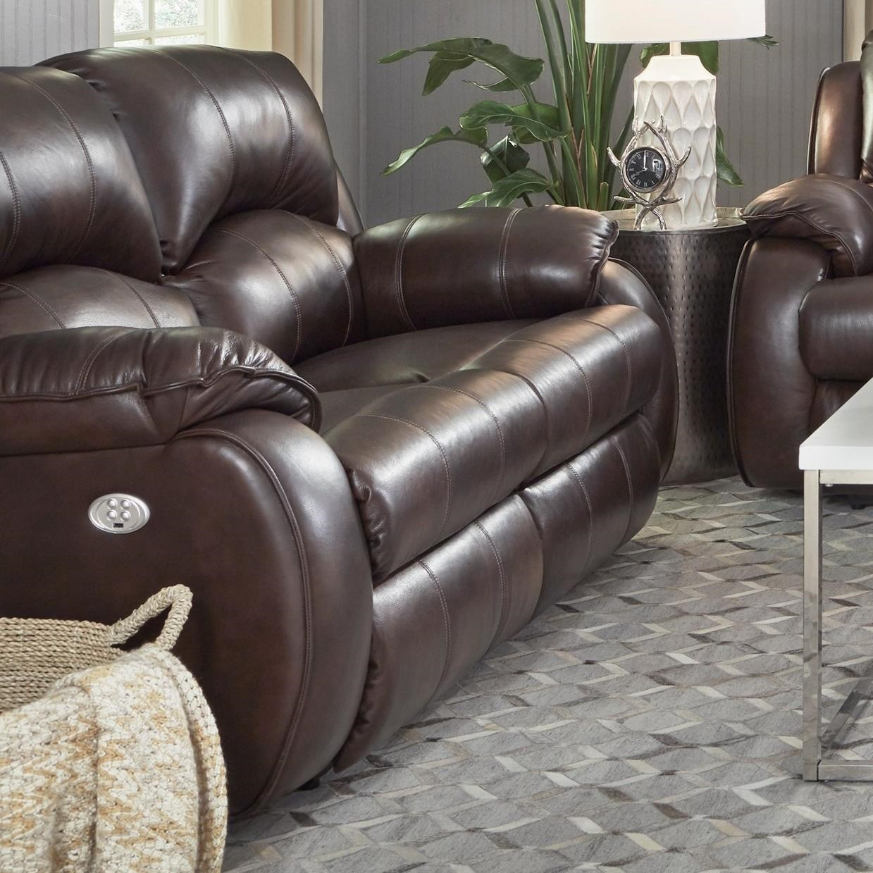 Cagney Power Headrest Reclining Loveseat by Southern Motion at Darvin Furniture